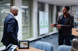 """GRACELAND -- """"B-Positive"""" Episode 301 -- Pictured: (l-r) Lawrence Gilliard Jr. as Agent Logan, Daniel Sunjata as Paul Briggs-- (Photo by: Jeff Daly/USA Network/NBCU Photo Bank via Getty Images)"""